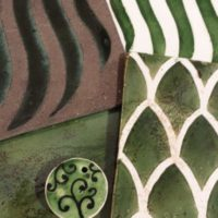 Ceramiche decorate Verde vari decori